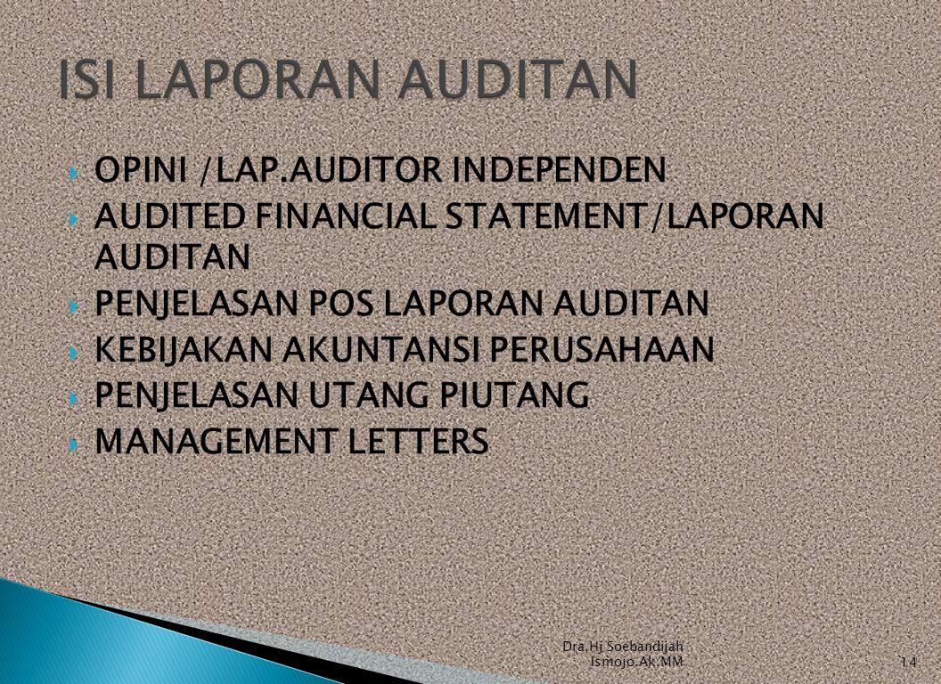  OPINI /LAP.AUDITOR INDEPENDEN  AUDITED FINANCIAL STATEMENT/LAPORAN AUDITAN  PENJELASAN POS LAPORAN AUDITAN  KEBIJAKAN AKUNTANSI PERUSAHAAN  PENJ