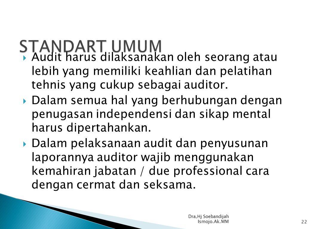  Audit harus dilaksanakan oleh seorang atau lebih yang memiliki keahlian dan pelatihan tehnis yang cukup sebagai auditor.  Dalam semua hal yang berh