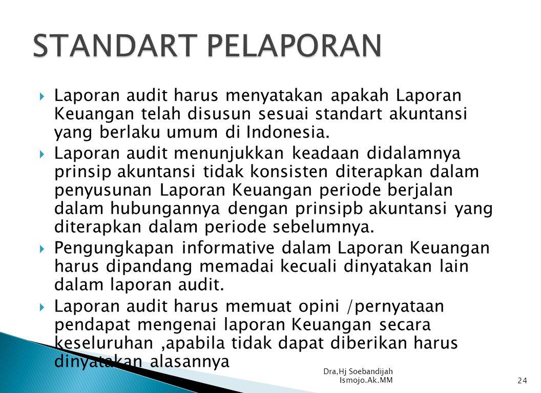  Laporan audit harus menyatakan apakah Laporan Keuangan telah disusun sesuai standart akuntansi yang berlaku umum di Indonesia.  Laporan audit menun