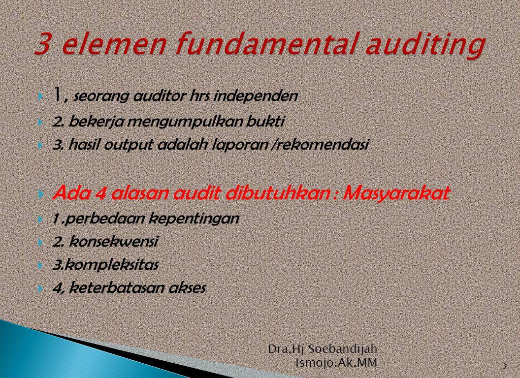  1, seorang auditor hrs independen  2. bekerja mengumpulkan bukti  3. hasil output adalah laporan /rekomendasi  Ada 4 alasan audit dibutuhkan : Ma