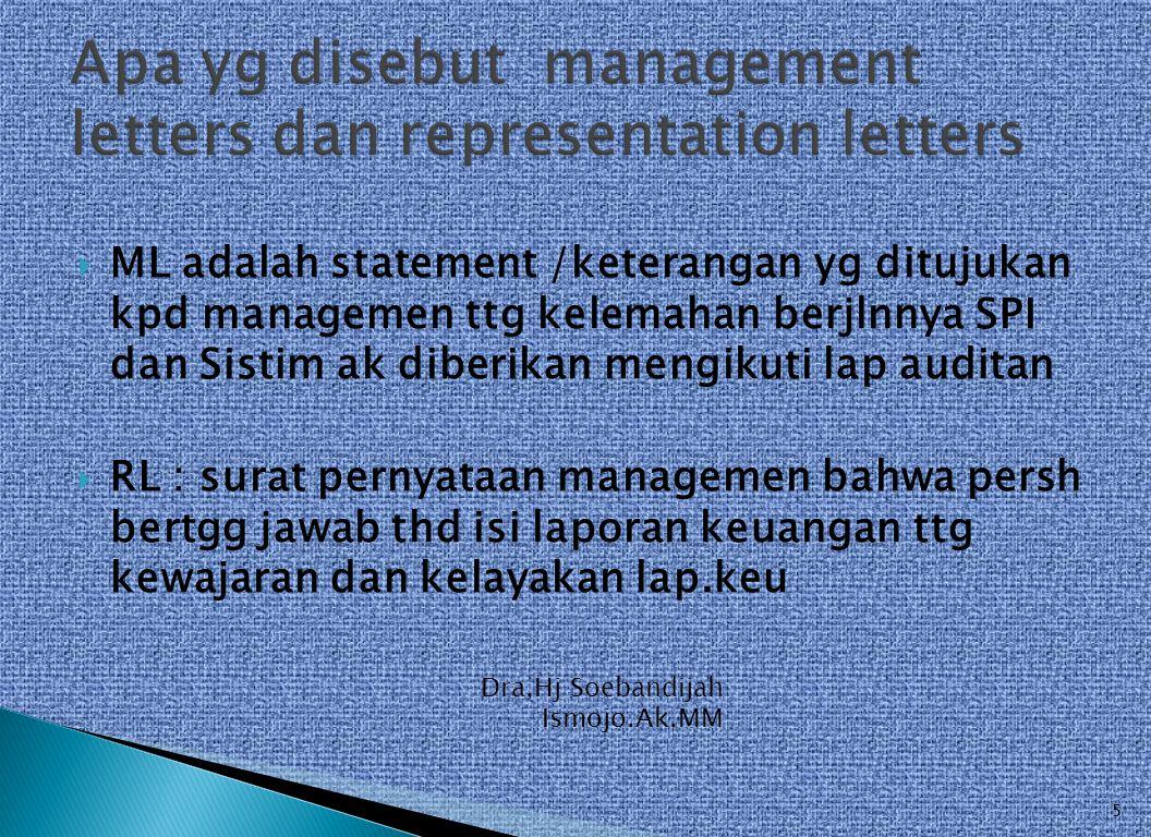  ML adalah statement /keterangan yg ditujukan kpd managemen ttg kelemahan berjlnnya SPI dan Sistim ak diberikan mengikuti lap auditan  RL : surat pe
