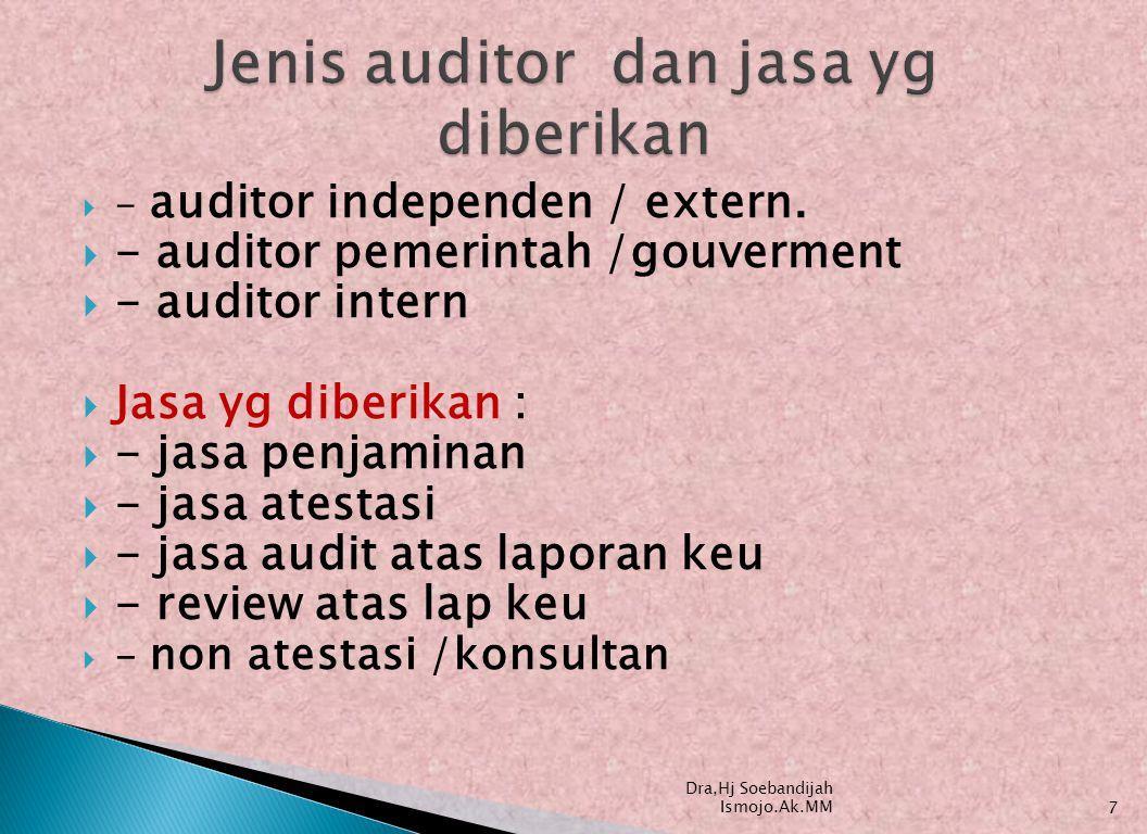 1.audit laporan keuangan  2, audit kesesuaian/kepatuhan  3.