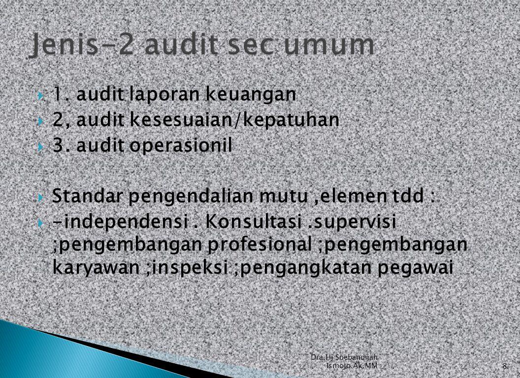  1. audit laporan keuangan  2, audit kesesuaian/kepatuhan  3. audit operasionil  Standar pengendalian mutu,elemen tdd :  -independensi. Konsultas