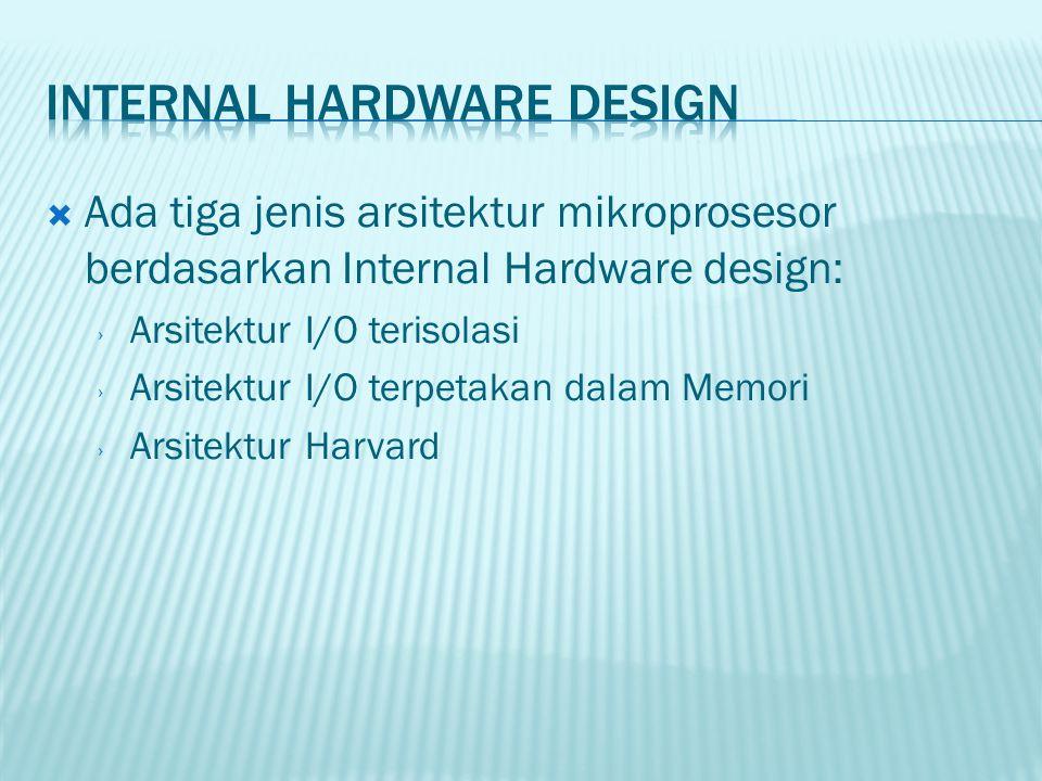  Ada tiga jenis arsitektur mikroprosesor berdasarkan Internal Hardware design: › Arsitektur I/O terisolasi › Arsitektur I/O terpetakan dalam Memori ›