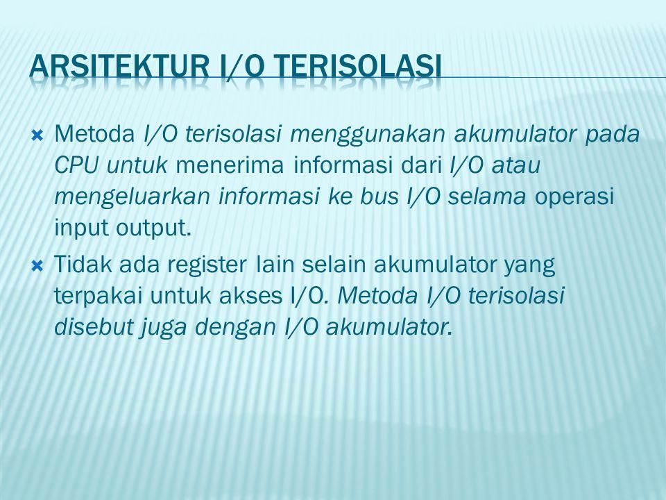  Metoda I/O terisolasi menggunakan akumulator pada CPU untuk menerima informasi dari I/O atau mengeluarkan informasi ke bus I/O selama operasi input