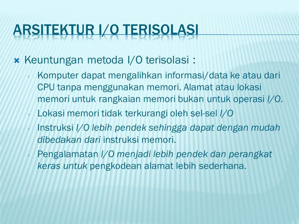  Keuntungan metoda I/O terisolasi : › Komputer dapat mengalihkan informasi/data ke atau dari CPU tanpa menggunakan memori. Alamat atau lokasi memori