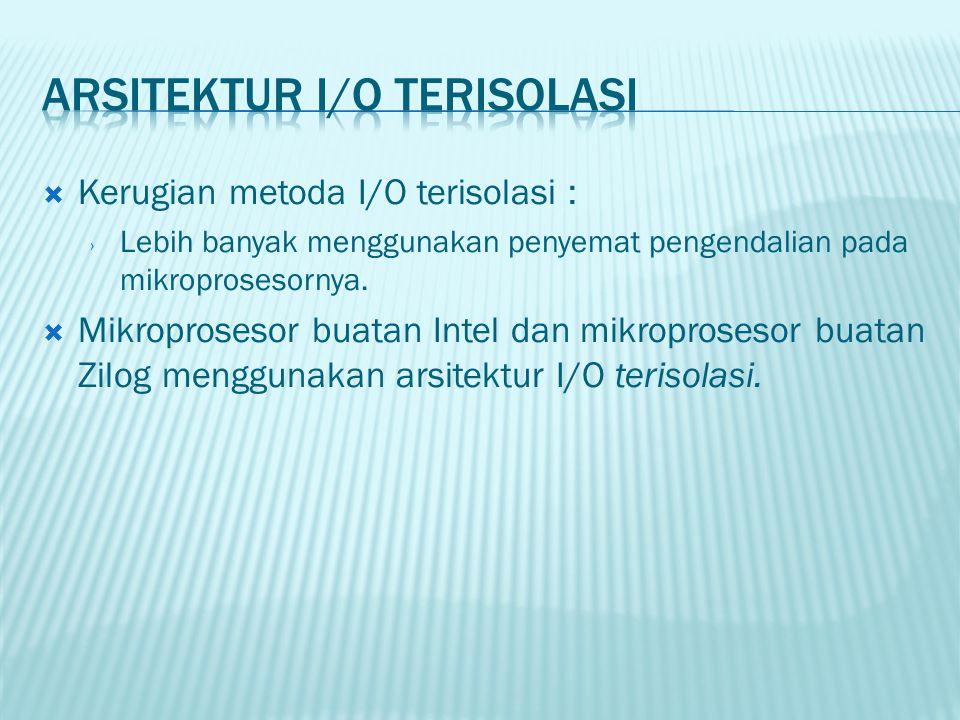  Kerugian metoda I/O terisolasi : › Lebih banyak menggunakan penyemat pengendalian pada mikroprosesornya.  Mikroprosesor buatan Intel dan mikroprose