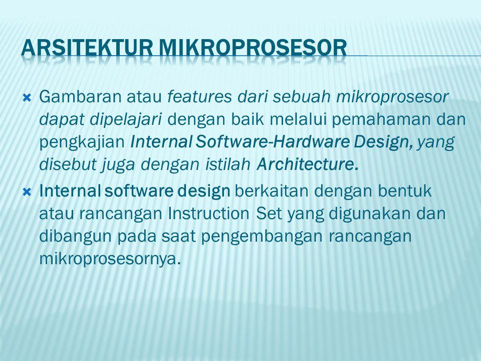  Ada tiga jenis arsitektur mikroprosesor dilihat dari software design yaitu : 1.