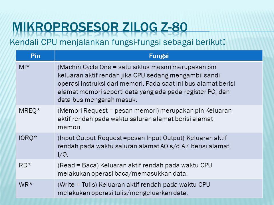 Kendali CPU menjalankan fungsi-fungsi sebagai berikut : PinFungsi MI*(Machin Cycle One = satu siklus mesin) merupakan pin keluaran aktif rendah jika C