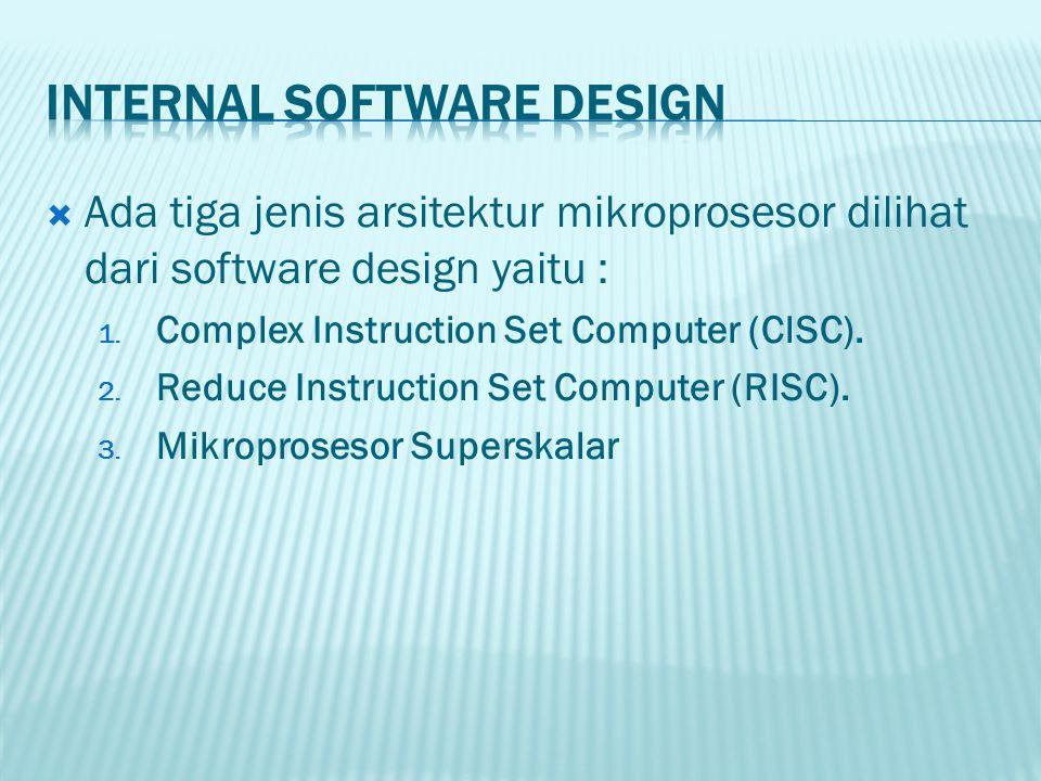  Ada tiga jenis arsitektur mikroprosesor dilihat dari software design yaitu : 1. Complex Instruction Set Computer (ClSC). 2. Reduce Instruction Set C