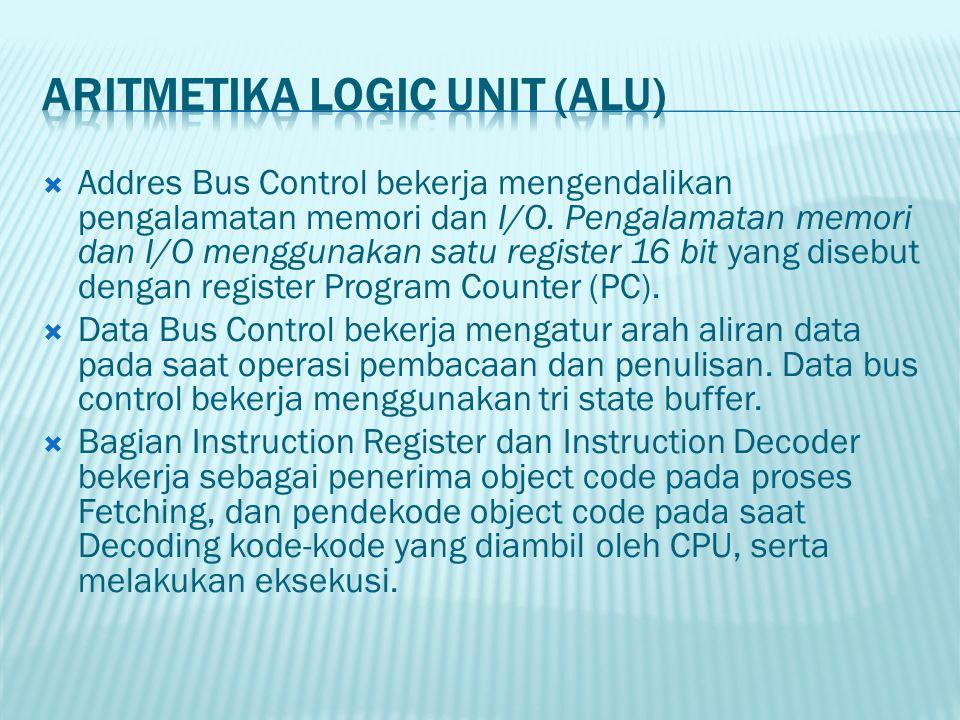  Addres Bus Control bekerja mengendalikan pengalamatan memori dan I/O. Pengalamatan memori dan I/O menggunakan satu register 16 bit yang disebut deng