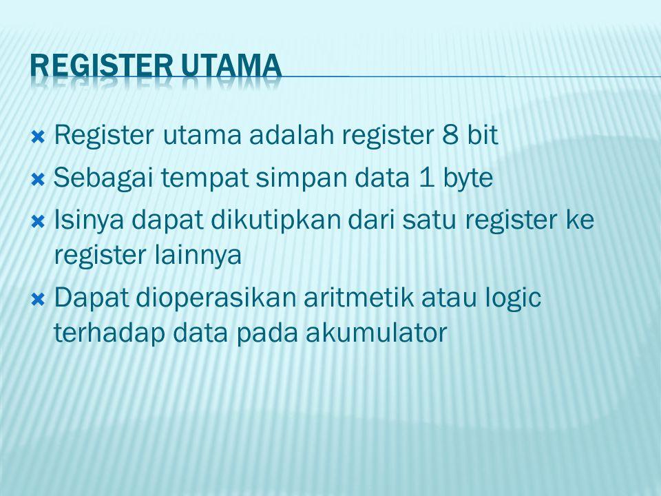  Register utama adalah register 8 bit  Sebagai tempat simpan data 1 byte  Isinya dapat dikutipkan dari satu register ke register lainnya  Dapat di