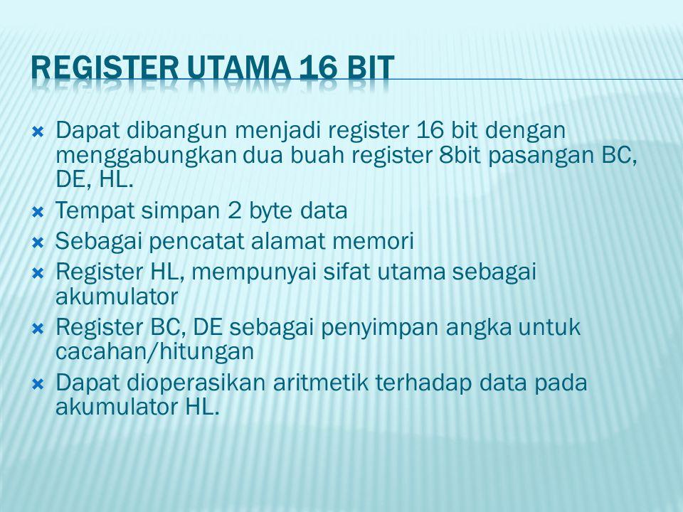  Dapat dibangun menjadi register 16 bit dengan menggabungkan dua buah register 8bit pasangan BC, DE, HL.  Tempat simpan 2 byte data  Sebagai pencat