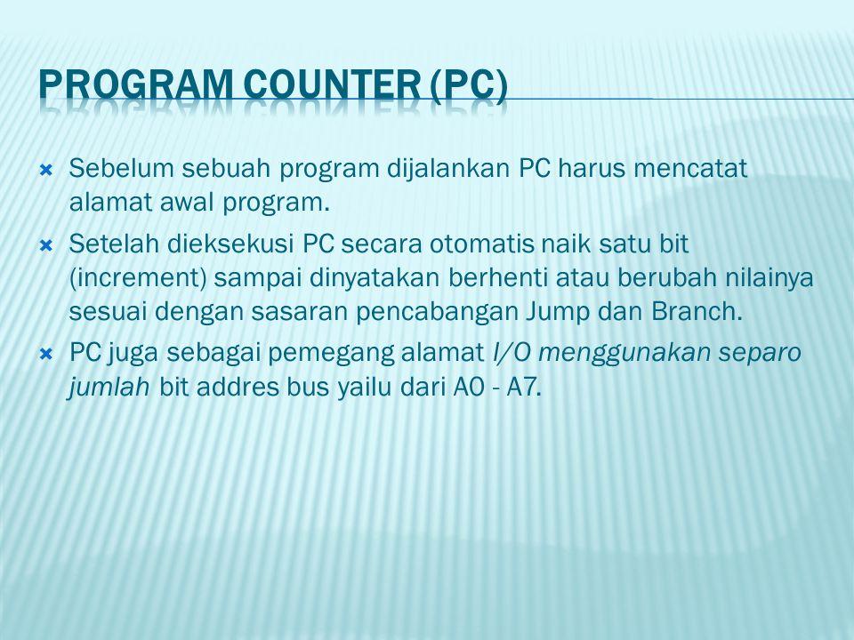  Sebelum sebuah program dijalankan PC harus mencatat alamat awal program.  Setelah dieksekusi PC secara otomatis naik satu bit (increment) sampai di