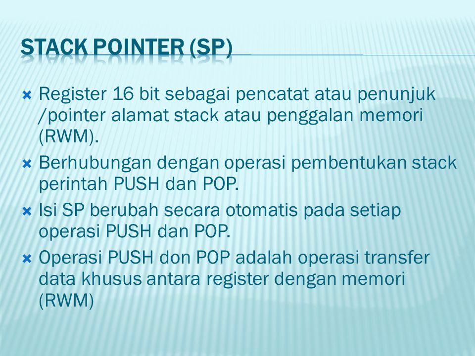  Register 16 bit sebagai pencatat atau penunjuk /pointer alamat stack atau penggalan memori (RWM).  Berhubungan dengan operasi pembentukan stack per