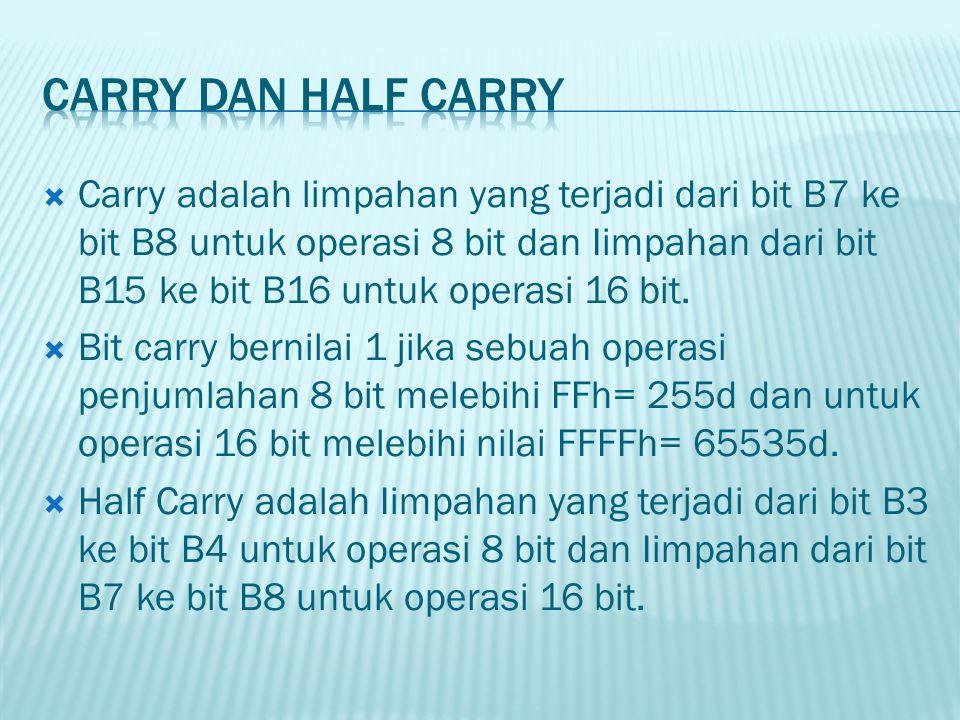 Carry adalah limpahan yang terjadi dari bit B7 ke bit B8 untuk operasi 8 bit dan Iimpahan dari bit B15 ke bit B16 untuk operasi 16 bit.  Bit carry