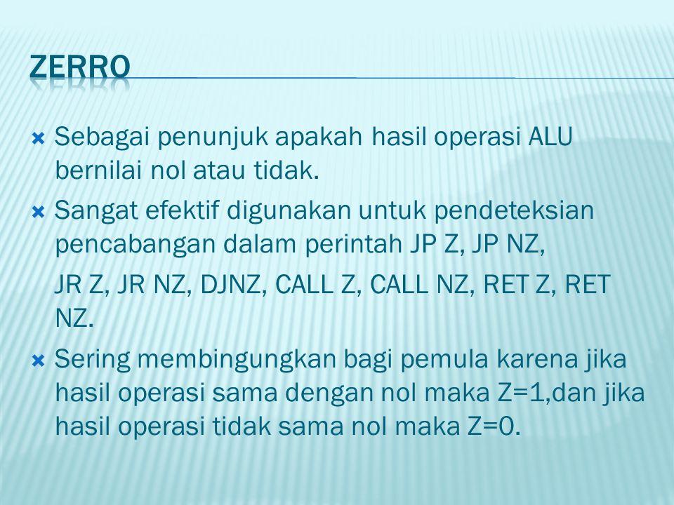  Sebagai penunjuk apakah hasil operasi ALU bernilai nol atau tidak.  Sangat efektif digunakan untuk pendeteksian pencabangan dalam perintah JP Z, JP