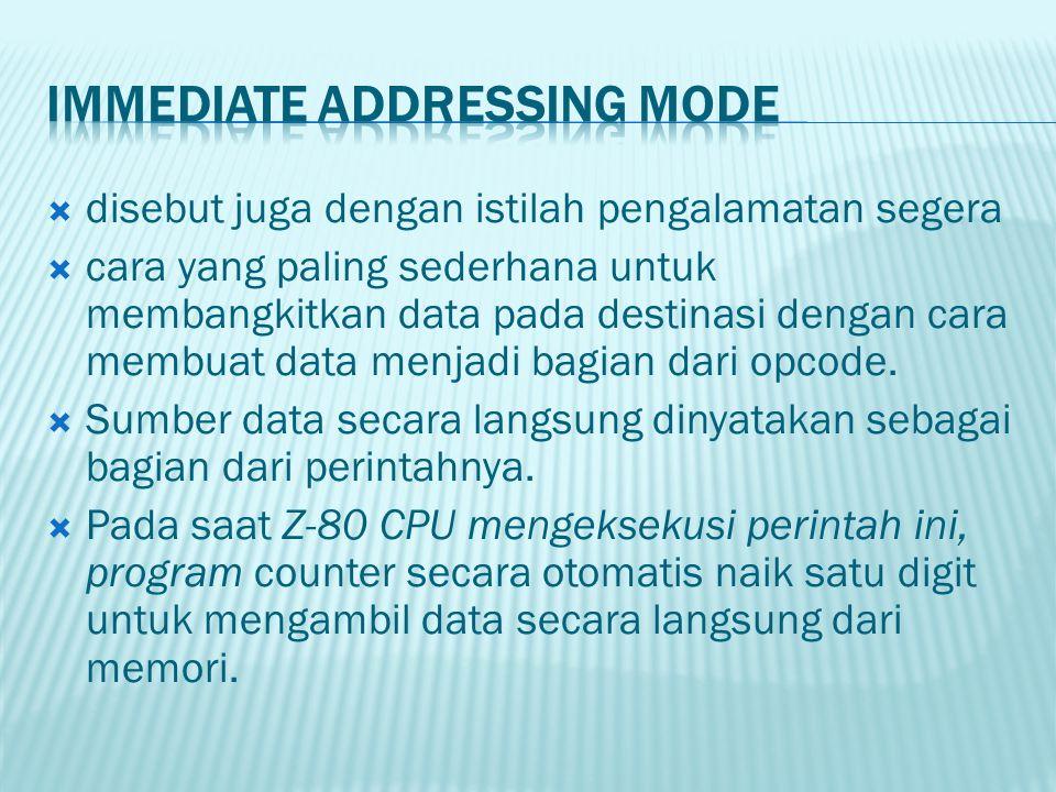  disebut juga dengan istilah pengalamatan segera  cara yang paling sederhana untuk membangkitkan data pada destinasi dengan cara membuat data menjad