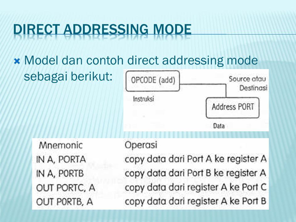  Model dan contoh direct addressing mode sebagai berikut: