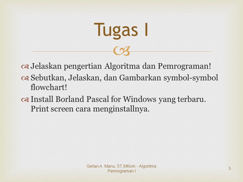   Jelaskan pengertian Algoritma dan Pemrograman!  Sebutkan, Jelaskan, dan Gambarkan symbol-symbol flowchart!  Install Borland Pascal for Windows y
