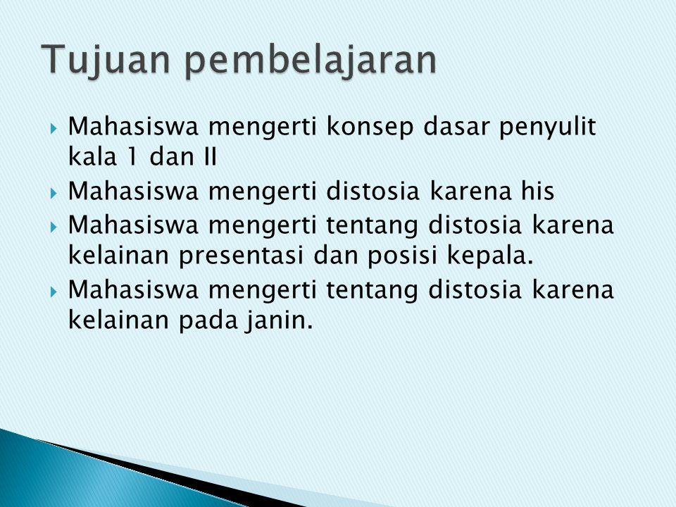  Mahasiswa mengerti konsep dasar penyulit kala 1 dan II  Mahasiswa mengerti distosia karena his  Mahasiswa mengerti tentang distosia karena kelaina