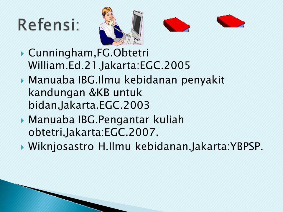  Cunningham,FG.Obtetri William.Ed.21.Jakarta:EGC.2005  Manuaba IBG.Ilmu kebidanan penyakit kandungan &KB untuk bidan.Jakarta.EGC.2003  Manuaba IBG.