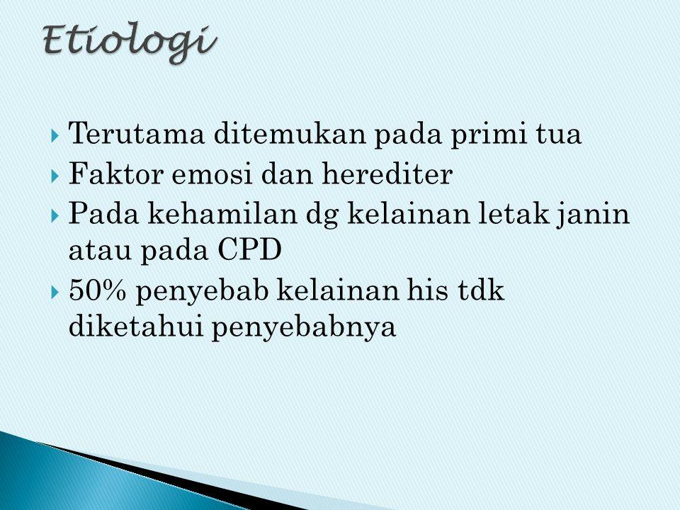  Terutama ditemukan pada primi tua  Faktor emosi dan herediter  Pada kehamilan dg kelainan letak janin atau pada CPD  50% penyebab kelainan his td