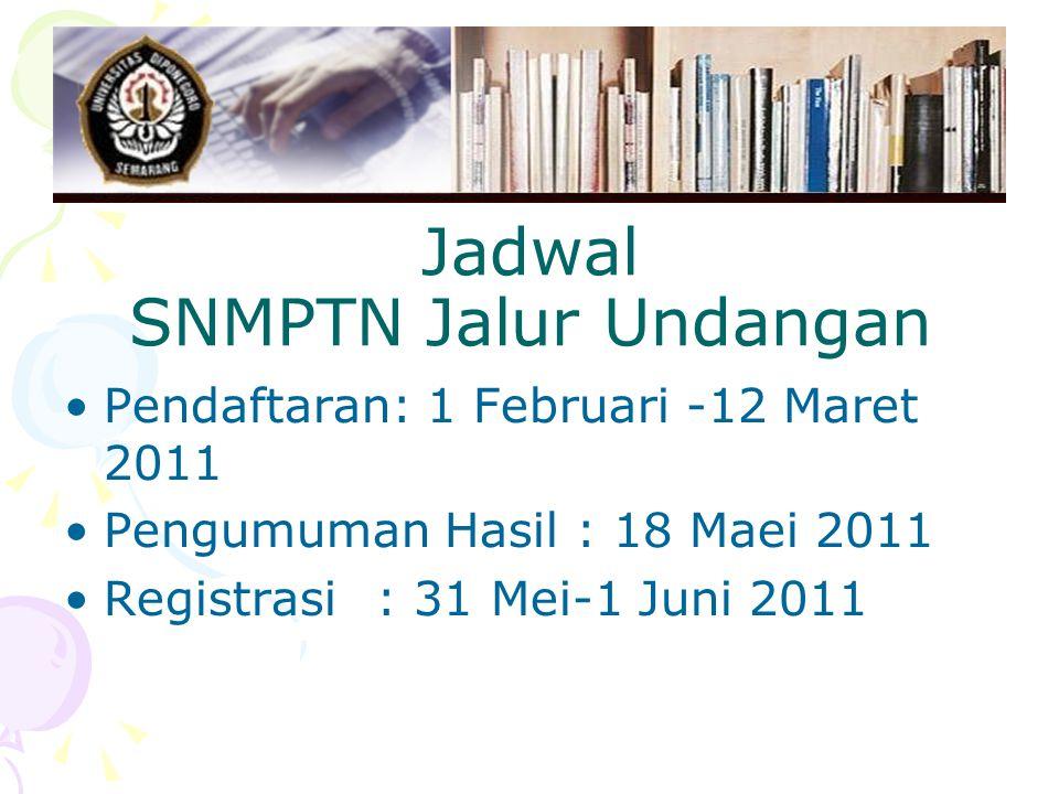 Jadwal SNMPTN Jalur Undangan Pendaftaran: 1 Februari -12 Maret 2011 Pengumuman Hasil : 18 Maei 2011 Registrasi: 31 Mei-1 Juni 2011