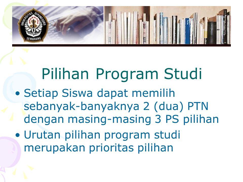 Pilihan Program Studi Setiap Siswa dapat memilih sebanyak-banyaknya 2 (dua) PTN dengan masing-masing 3 PS pilihan Urutan pilihan program studi merupakan prioritas pilihan