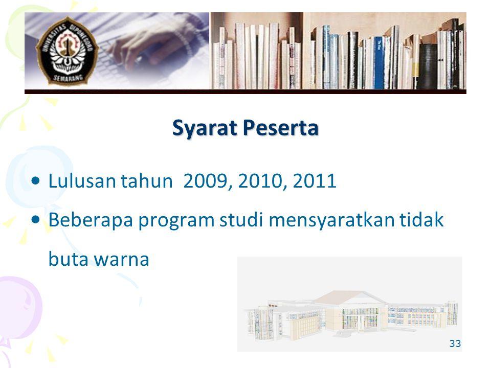 33 Syarat Peserta Lulusan tahun 2009, 2010, 2011 Beberapa program studi mensyaratkan tidak buta warna
