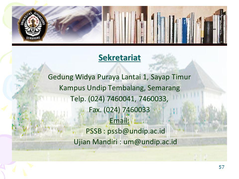57 Sekretariat Gedung Widya Puraya Lantai 1, Sayap Timur Kampus Undip Tembalang, Semarang Telp.