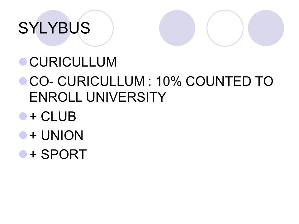 SYLYBUS CURICULLUM CO- CURICULLUM : 10% COUNTED TO ENROLL UNIVERSITY + CLUB + UNION + SPORT