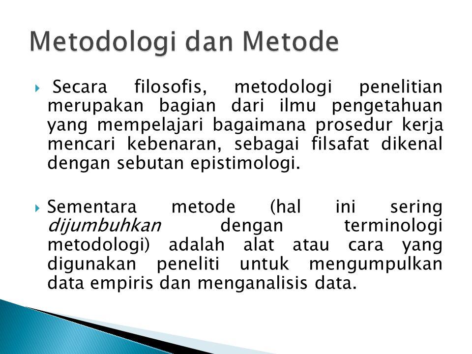  Secara filosofis, metodologi penelitian merupakan bagian dari ilmu pengetahuan yang mempelajari bagaimana prosedur kerja mencari kebenaran, sebagai