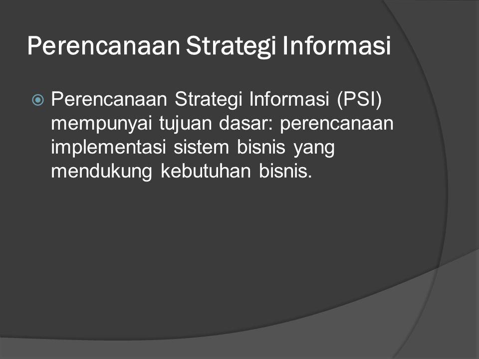 Perencanaan Strategi Informasi  Perencanaan Strategi Informasi (PSI) mempunyai tujuan dasar: perencanaan implementasi sistem bisnis yang mendukung ke