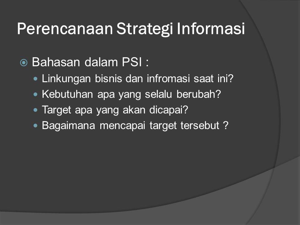 Perencanaan Strategi Informasi  Empat sudut pandang pertimbangan dalam ISP : Struktur organisasi  aktivitas bagian yang menggunakan informasi.