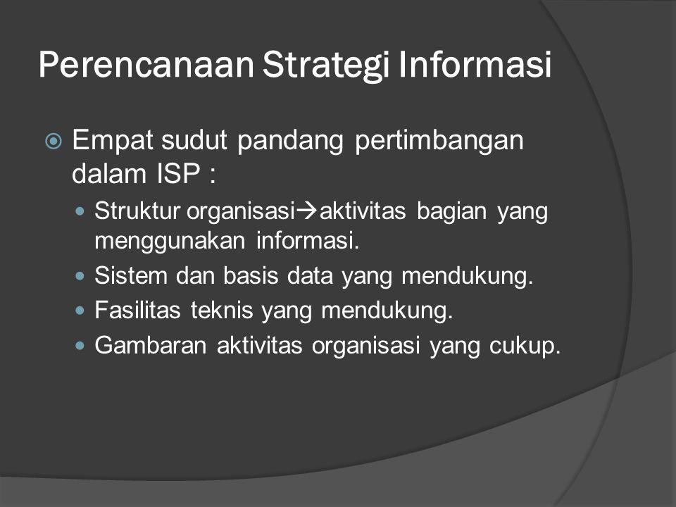 Perencanaan Strategi Informasi  Empat sudut pandang pertimbangan dalam ISP : Struktur organisasi  aktivitas bagian yang menggunakan informasi. Siste