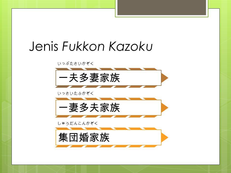 Arti dari Jenis Fukkon Kazoku IpTK Poligini Suami dengan istri lebih dari 1 IsTK Poliandri Istri dengan suami lebih dari 1 SDK Kelompok orang yang sudah menikah