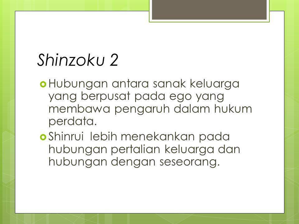 Shinzoku 3 Seseorang dianggap kerabat oleh orang lain karena orang tersebut dianggap masih seketurunan atau memiliki hubungan darah dengan ego, tetapi mungkin saja belum perrnah bertemu muka dengan ego.