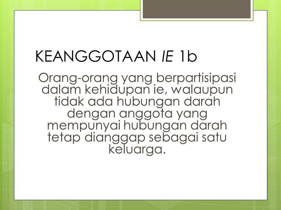 KEANGGOTAAN IE 2a Anggota ie adalah harus dapat bekerja sama untuk mengelola usaha ie dan fungsional dalam hubungan kehidupan ie.