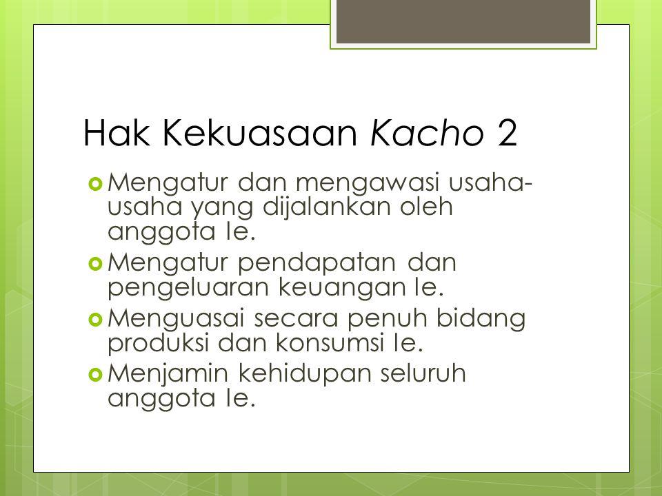 Hak Kekuasaan Kacho 2  Mengatur dan mengawasi usaha- usaha yang dijalankan oleh anggota Ie.