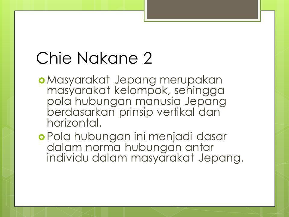 Chie Nakane 3 Hubungan Vertikal Hubungan antar pribadi atau individu, yaitu hubungan orangtua & anak, hubungan atasan-bawahan.