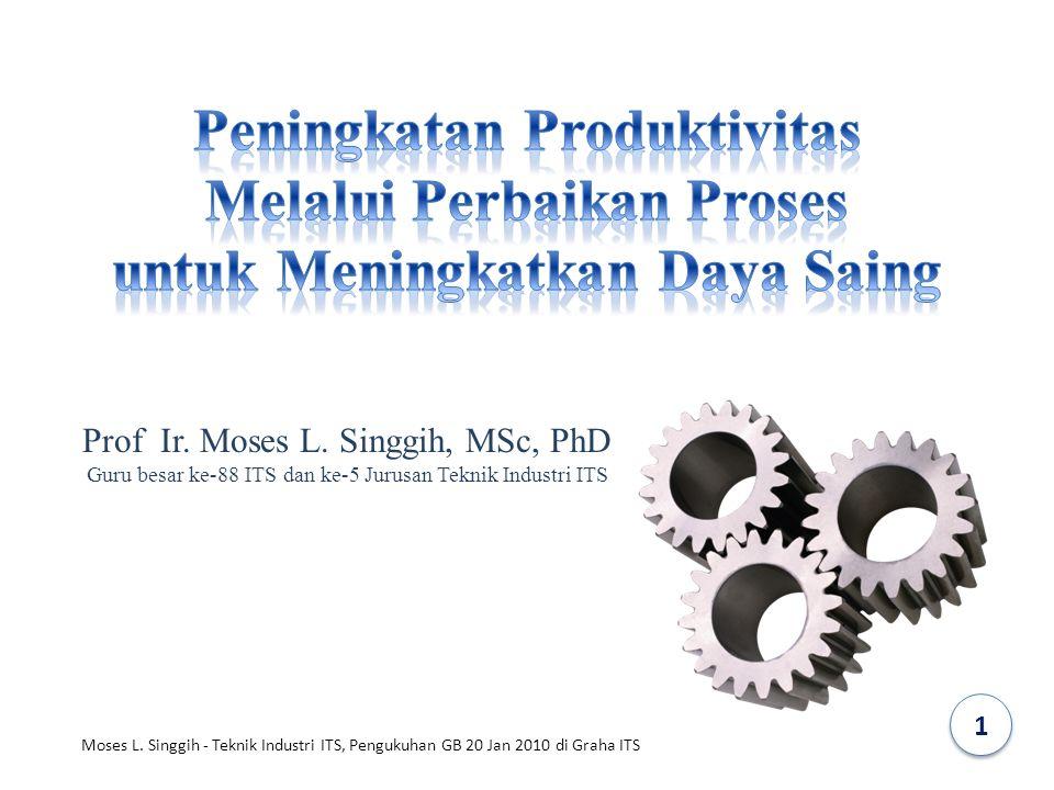Prof Ir. Moses L. Singgih, MSc, PhD Guru besar ke-88 ITS dan ke-5 Jurusan Teknik Industri ITS 1 Moses L. Singgih - Teknik Industri ITS, Pengukuhan GB