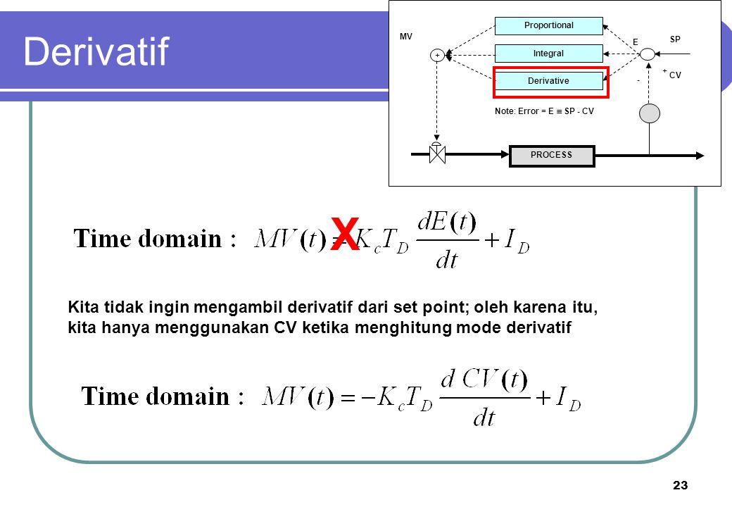 23 PROCESS Proportional Integral Derivative + + - CV SP E MV Note: Error = E  SP - CV X Kita tidak ingin mengambil derivatif dari set point; oleh kar