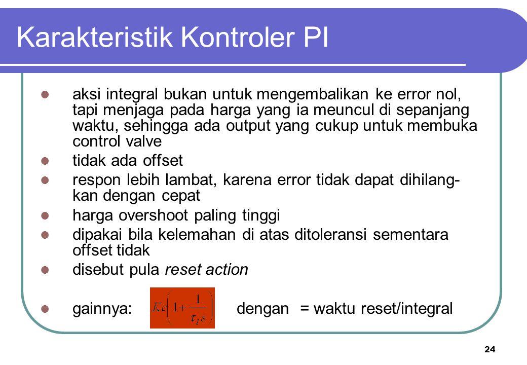 24 Karakteristik Kontroler PI aksi integral bukan untuk mengembalikan ke error nol, tapi menjaga pada harga yang ia meuncul di sepanjang waktu, sehing