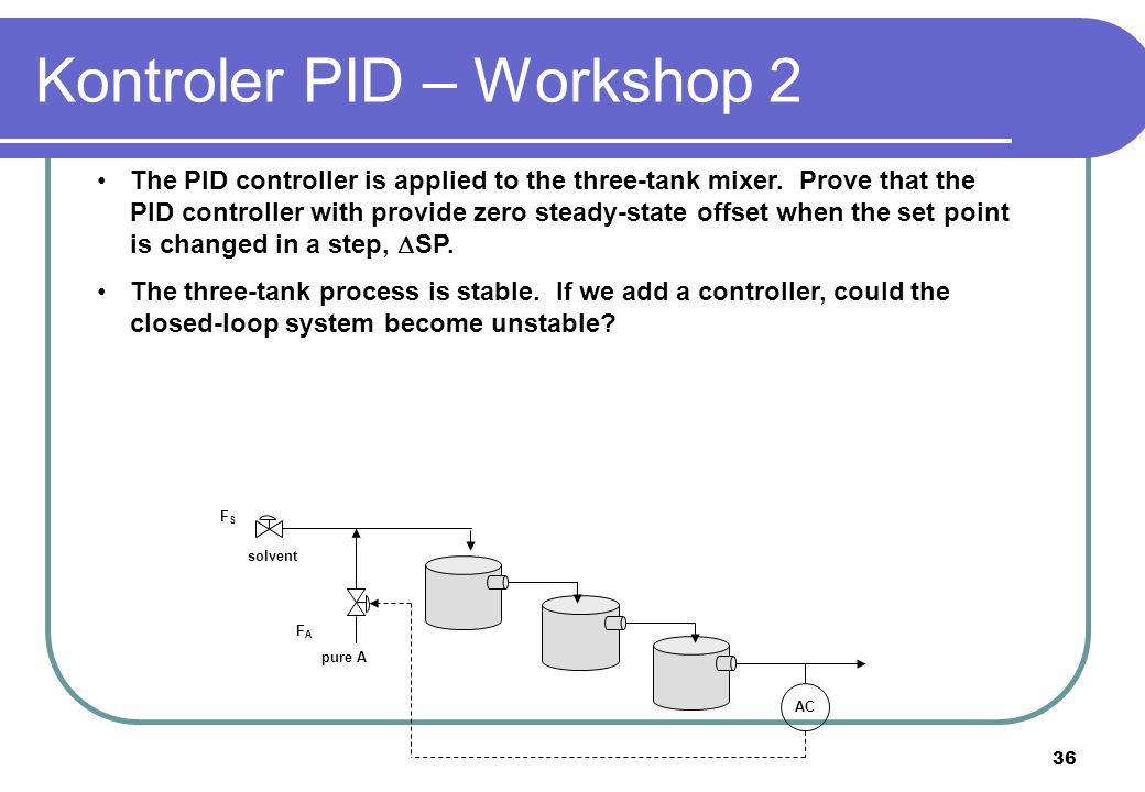 36 The PID controller is applied to the three-tank mixer. Prove that the PID controller with provide zero steady-state offset when the set point is ch