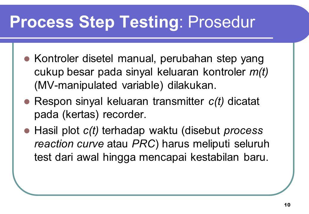 10 Process Step Testing: Prosedur Kontroler disetel manual, perubahan step yang cukup besar pada sinyal keluaran kontroler m(t) (MV-manipulated variab