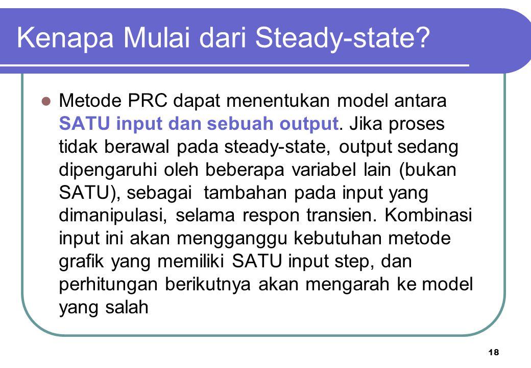 18 Kenapa Mulai dari Steady-state? Metode PRC dapat menentukan model antara SATU input dan sebuah output. Jika proses tidak berawal pada steady-state,