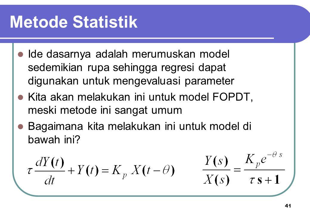 41 Metode Statistik Ide dasarnya adalah merumuskan model sedemikian rupa sehingga regresi dapat digunakan untuk mengevaluasi parameter Kita akan melak