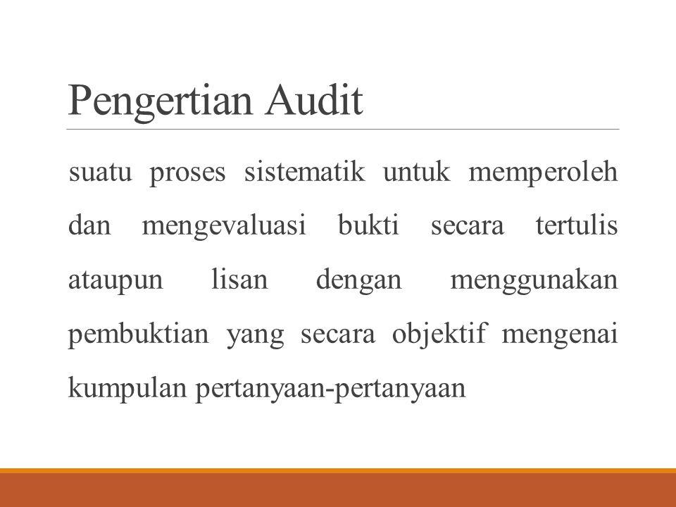 Pengertian Audit suatu proses sistematik untuk memperoleh dan mengevaluasi bukti secara tertulis ataupun lisan dengan menggunakan pembuktian yang seca