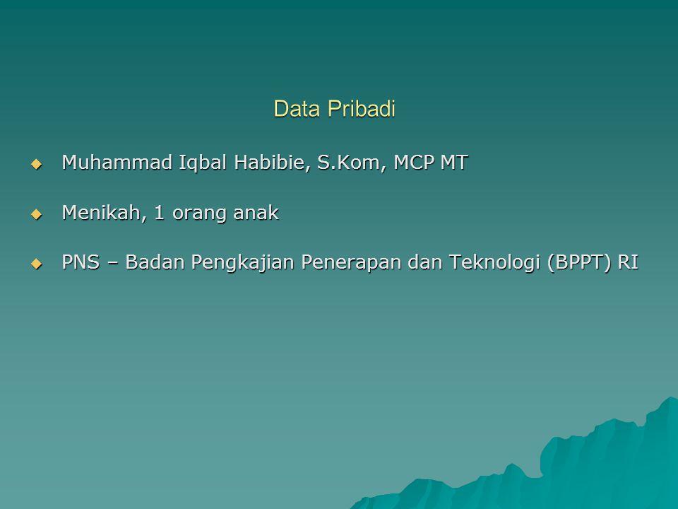 Muhammad Iqbal Habibie, S.Kom, MCP MT  Menikah, 1 orang anak  PNS – Badan Pengkajian Penerapan dan Teknologi (BPPT) RI